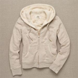 J. CREW Sherpa Fleece Lined Hoodie Oatmeal XS